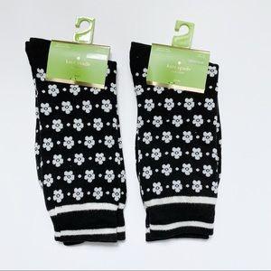 NWT kate spade crew socks (set of 2 - b&w floral)